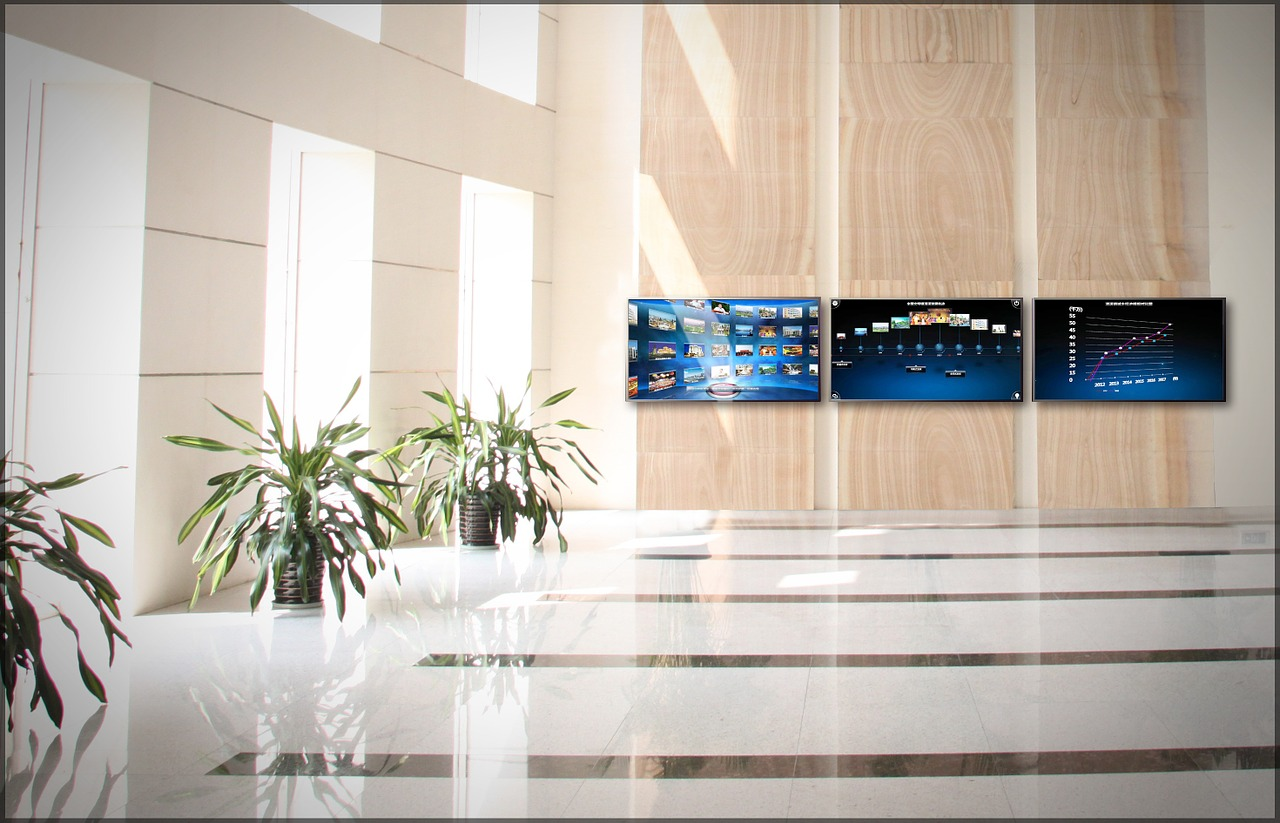 Hotel hall with visual digital screens